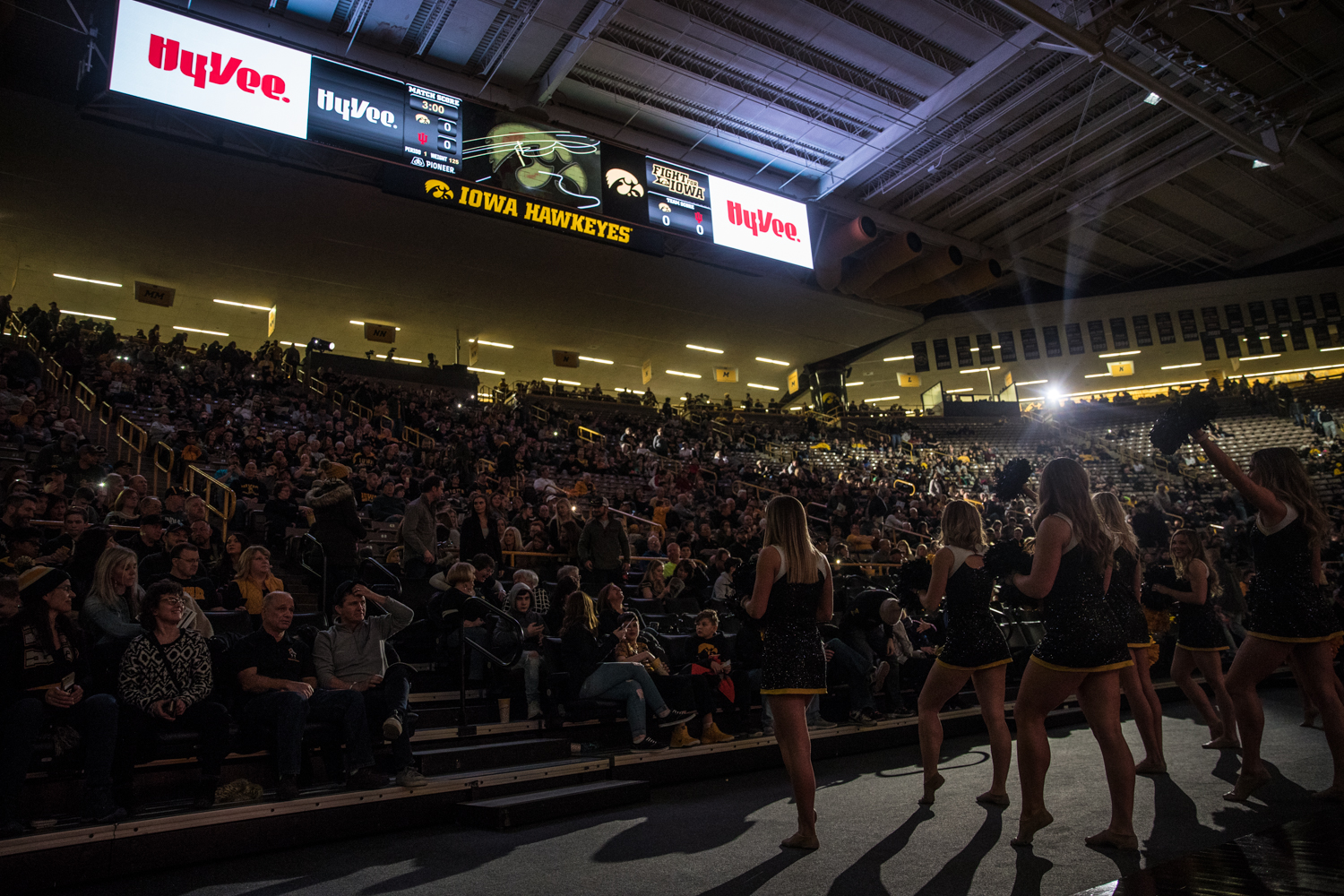 Iowa+spirit+sqads+pump+up+the+crowd+during+a+wrestling+match+between+Iowa+and+Indiana+at+Carver-Hawkeye+Arena+on+Friday%2C+February+15%2C+2019.+The+Hawkeyes%2C+celebrating+senior+night%2C+defeated+the+Hoosiers+37-9.