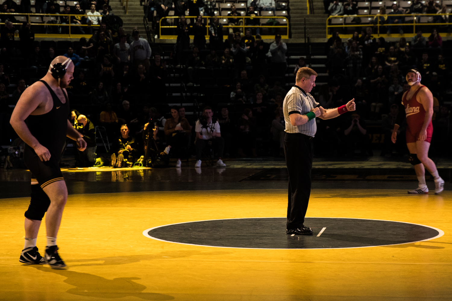 Iowa%27s+No.+6+Sam+Stoll+wrestles+Indiana%27s+Fletcher+Miller+at+285lb+during+a+wrestling+match+between+Iowa+and+Indiana+at+Carver-Hawkeye+Arena+on+Friday%2C+February+15%2C+2019.+The+Hawkeyes%2C+celebrating+senior+night%2C+defeated+the+Hoosiers+37-9.