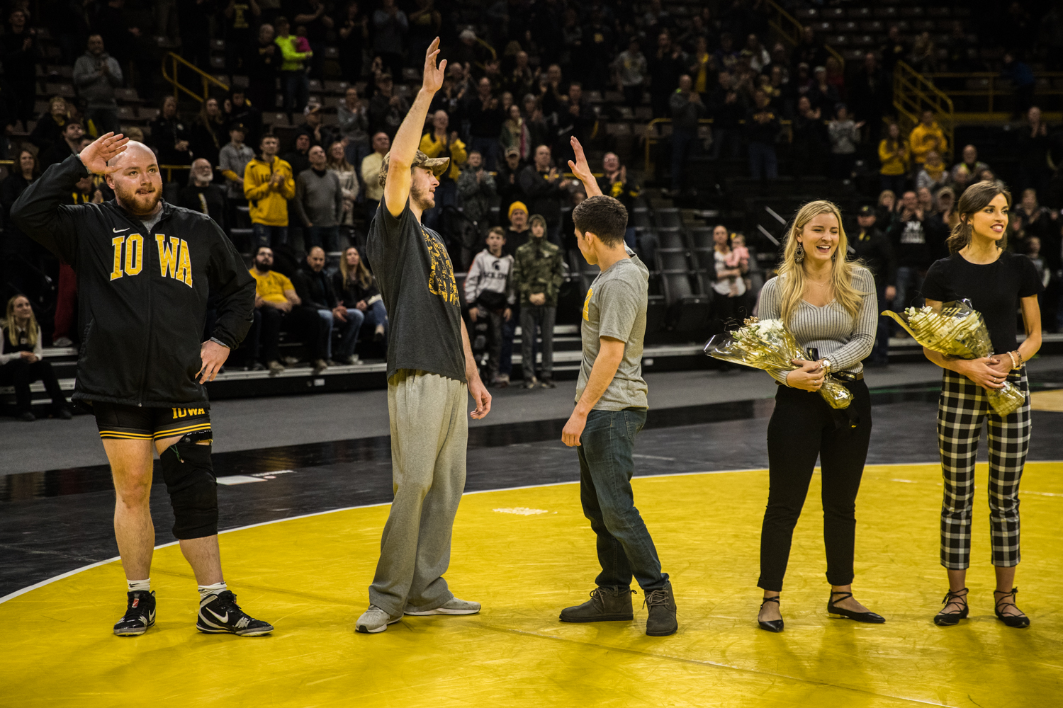 Iowa+wrestling+seniors+are+honored+during+a+wrestling+match+between+Iowa+and+Indiana+at+Carver-Hawkeye+Arena+on+Friday%2C+February+15%2C+2019.+The+Hawkeyes%2C+celebrating+senior+night%2C+defeated+the+Hoosiers+37-9.