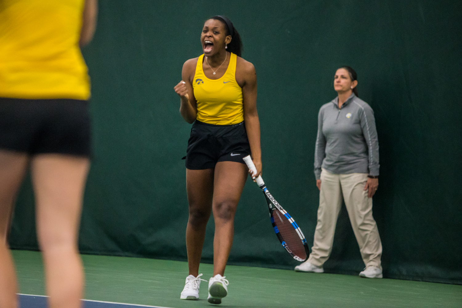 Iowa%27s+Adorabol+Huckleby+celebrates+after+a+point+during+a+women%27s+tennis+matchup+between+Iowa+and+Iowa+State+at+the+Hawkeye+Tennis+and+Recreation+Complex+on+Friday%2C+February+8%2C+2019.++The+Hawkeyes+dropped+the+doubles+point+but+swept+singles+matches%2C+defeating+the+Cyclones+4-1.