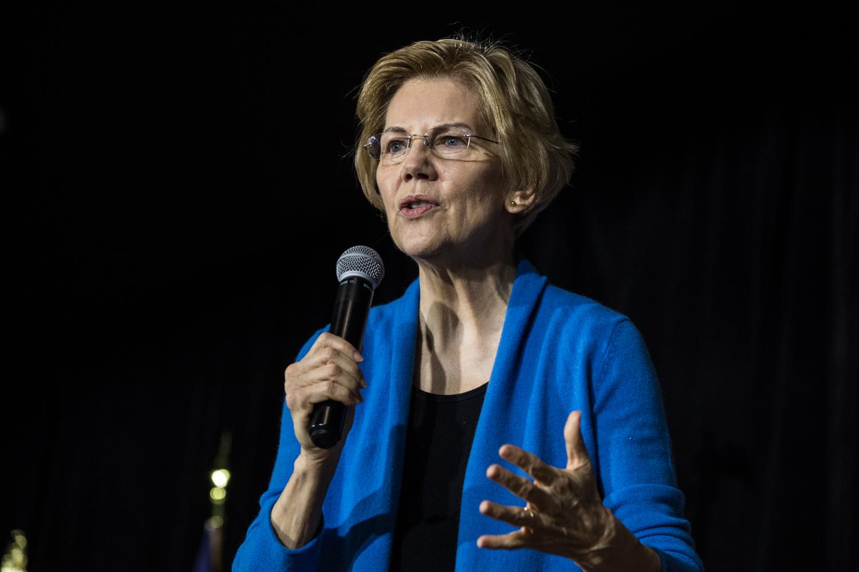 Sen. Elizabeth Warren, D-Mass., speaks during a campaign rally in Cedar Rapids on Sunday, Feb. 10, 2019.