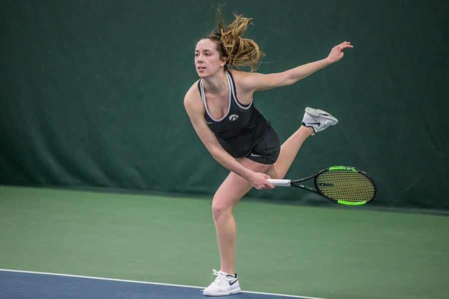 Iowa%27s+Samantha+Mannix+hits+a+serve+during+a+women%27s+tennis+match+between+Iowa+and+Penn+State+at+the+HTRC+on+Sunday%2C+February+24%2C+2019.+The+Hawkeyes+fell+to+the+Nittany+Lions%2C+4-3.