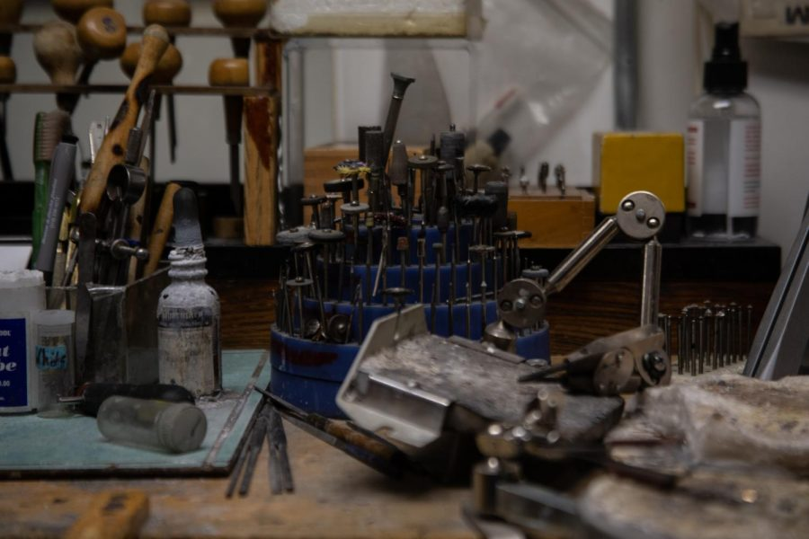 Various watch and jewelry repair tools lay in wait on the second floor of Herteen & Stocker on Monday, Feb. 11. The store, which opened in 1947, has been in Willa Dickens' family for two generations.