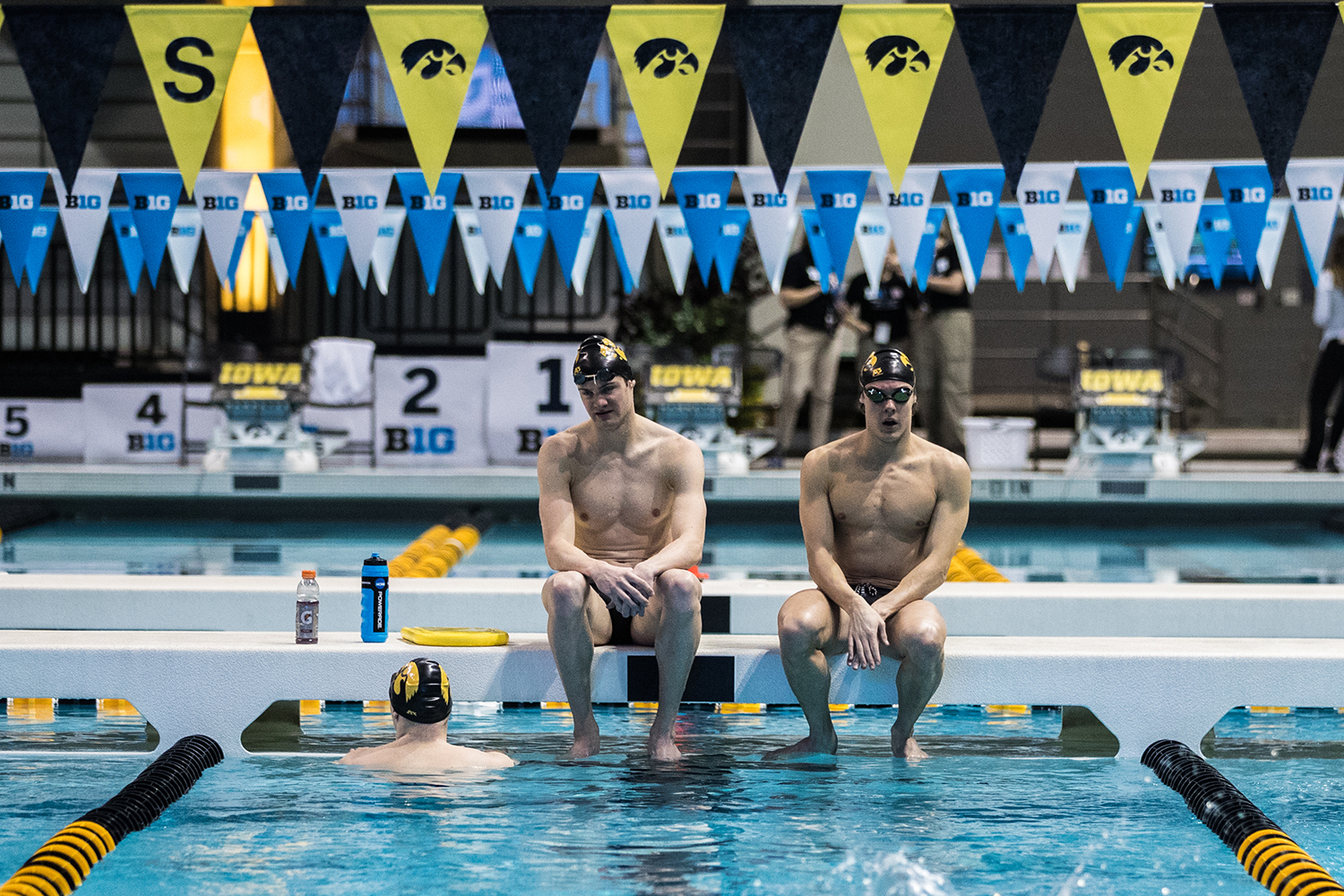 Iowa+swimmers+warm+up+during+the+first+day+of+the+2019+Big+Ten+Men%27s+Swimming+and+Diving+Championships+at+the+CRWC+on+Wednesday%2C+February+27%2C+2019.+