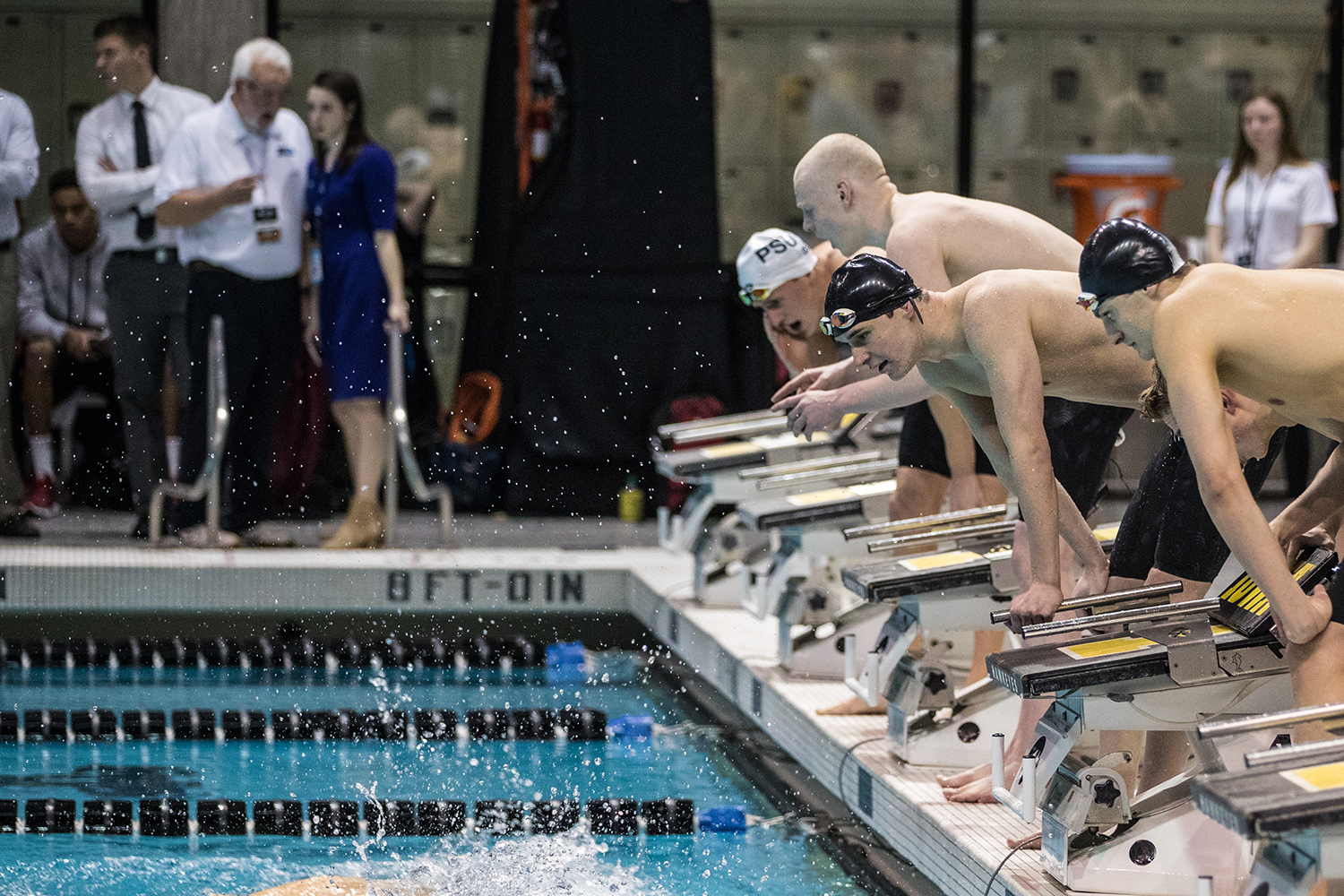 Swimmers+encourage+their+teammates+during+the+first+day+of+the+2019+Big+Ten+Men%27s+Swimming+and+Diving+Championships+at+the+CRWC+on+Wednesday%2C+February+27%2C+2019.+