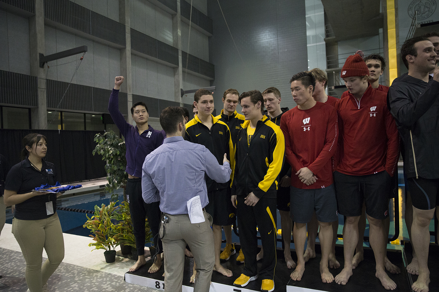 Kenneth+Mende%2C+Daniel+Swanepoel%2C+Michael+Tenney%2C+and+Joseph+Myhre+receiving+recognition+for+Men%27s+400+Yard+Medley+Relay+on+Thursday%2C+February+28%2C+2019.+The+Big+Ten+Men%27s+Swimming+and+Diving+Championship+was+held+at+the+University+of+Iowa+Aquatic+Center.+