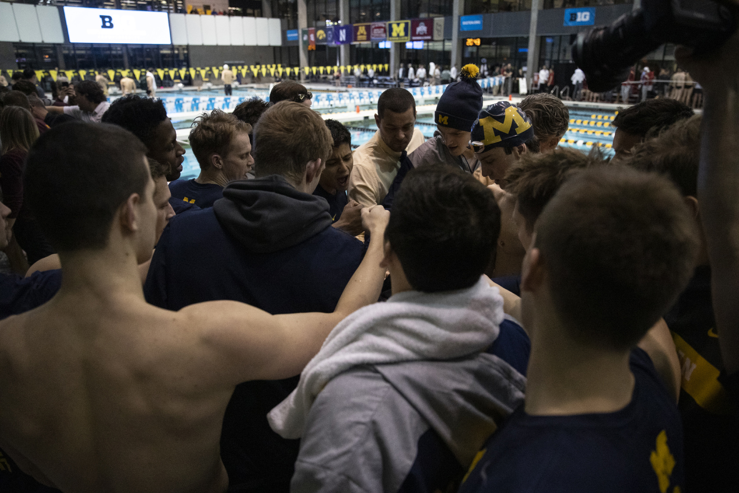 The+University+of+Michigan+gathers+together+before+the+second+day+of+the+2019+Big+Ten+Men%27s+Swimming+and+Diving+Championships+at+the+CRWC+on+Thursday%2C+February+28%2C+2019.+