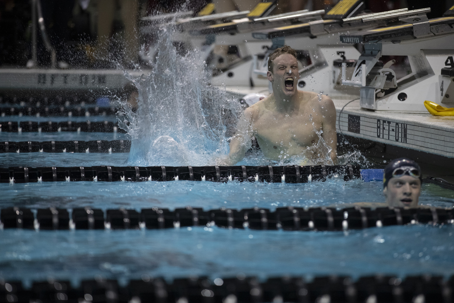 Felix+Auboeck+of+the+University+of+Michigan+celebrates+winning+the+Men%27s+500+freestyle+championships+during+the+second+day+of+the+2019+Big+Ten+Men%27s+Swimming+and+Diving+Championships+at+the+CRWC+on+Thursday%2C+February+28%2C+2019.+Auboeck+won+with+a+time+of+4%3A09%3A47%2C+setting+a+pool+record.+
