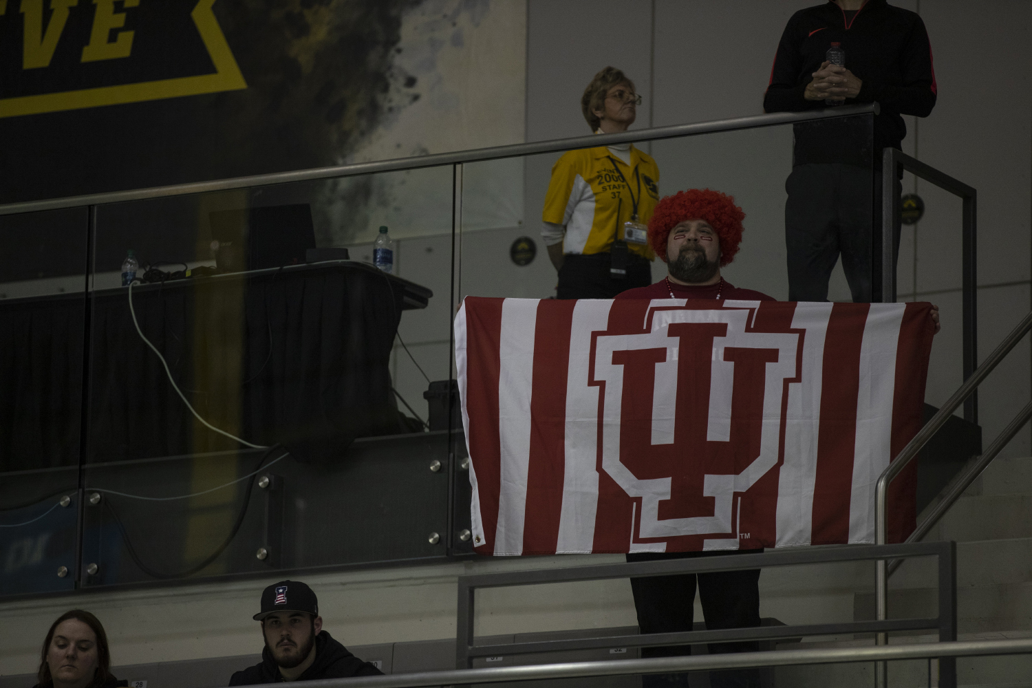 An+Indiana+fan+holds+the+university%27s+flag+during+the+second+day+of+the+2019+Big+Ten+Men%27s+Swimming+and+Diving+Championships+at+the+CRWC+on+Thursday%2C+February+28%2C+2019.+