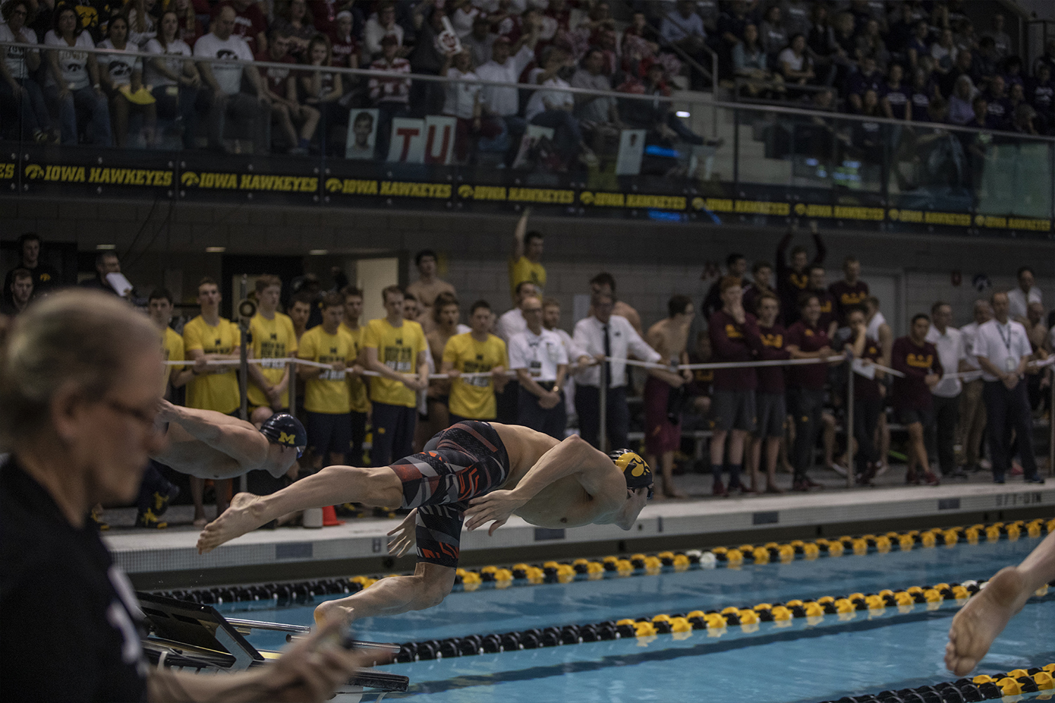 Michigan+head+coach+Mike+Bottom+speaks+to+his+athletes+before+final+competition+of+the+Big+10+Swimming+Championships+on+Saturday%2C+March+2%2C+2019.+