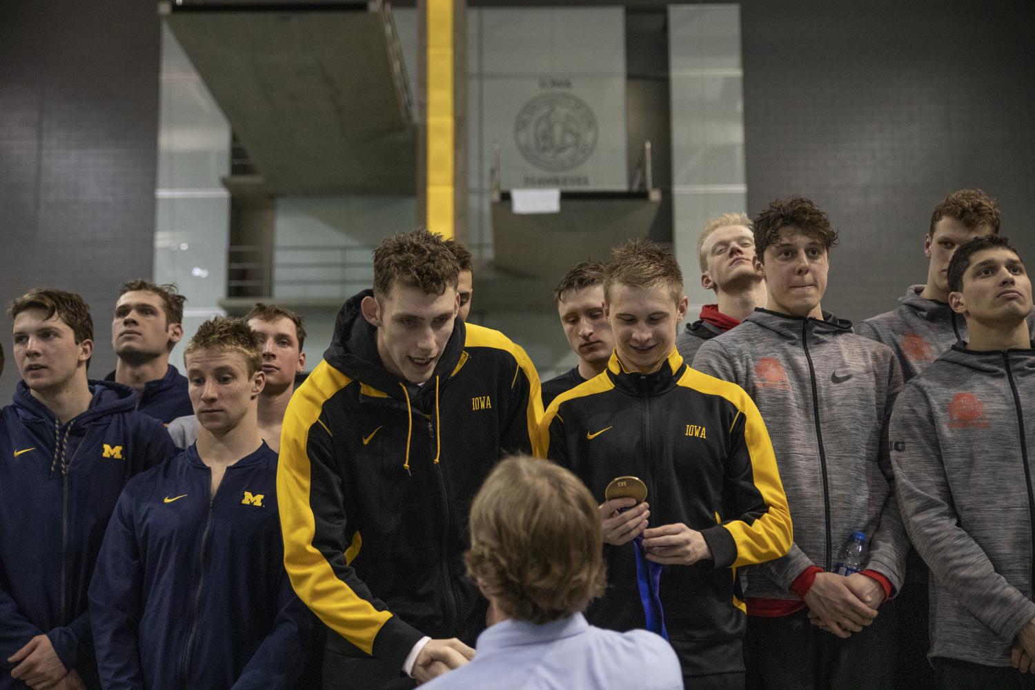 The+University+of+Iowa+mens+400+meter+relay+team+are+awarded+bronze+during+an+awards+ceremony+at+the+finals+of+the+Big+10+Swimming+Championships+on+Saturday%2C+March+2%2C+2019.+Iowa+men%27s+400+meter+relay+team+was+awarded+bronze.+The+men%27s+swimming+team+placed+7th+overall.+