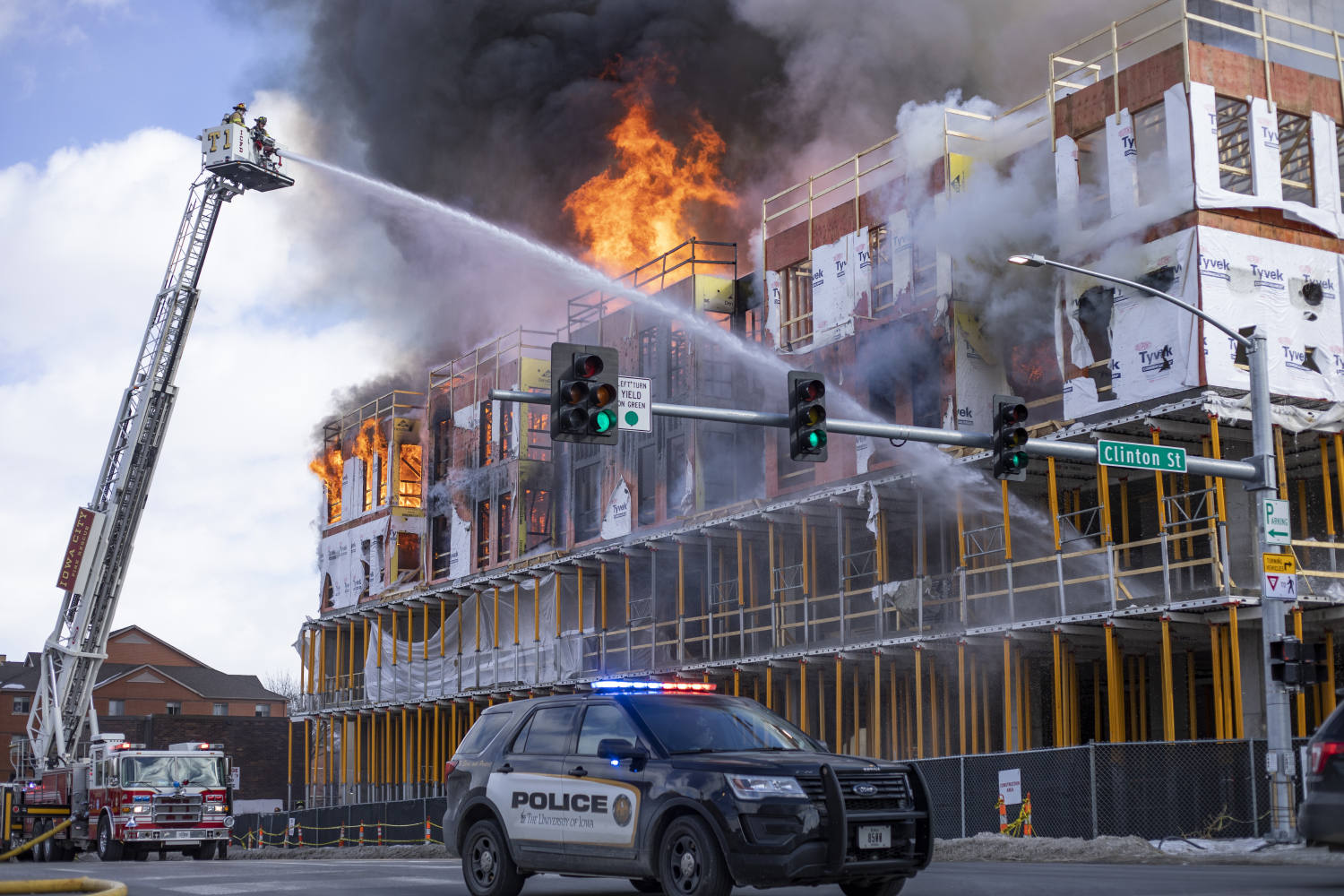 Firefighters respond to a structure fire at Burlington and Clinton on Tuesday, March 5.