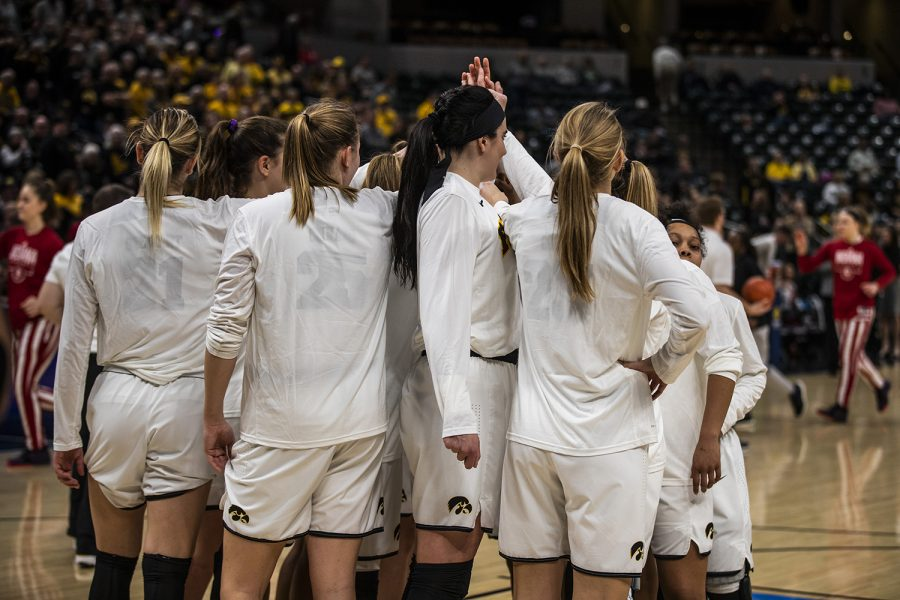 Iowa+players+join+together+before+the+women%27s+Big+Ten+tournament+basketball+game+vs.+Indiana+at+Bankers+Life+Fieldhouse+on+Friday%2C+March+8%2C+2019.+The+Hawkeyes+defeated+the+Hoosiers+70-61.+