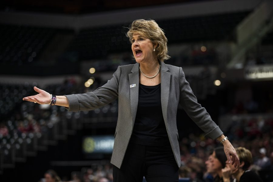 Iowa+head+coach+Lisa+Bluder+reacts+to+a+call+during+the+women%27s+Big+Ten+tournament+basketball+game+vs.+Indiana+at+Bankers+Life+Fieldhouse+on+Friday%2C+March+8%2C+2019.+The+Hawkeyes+defeated+the+Hoosiers+70-61.+