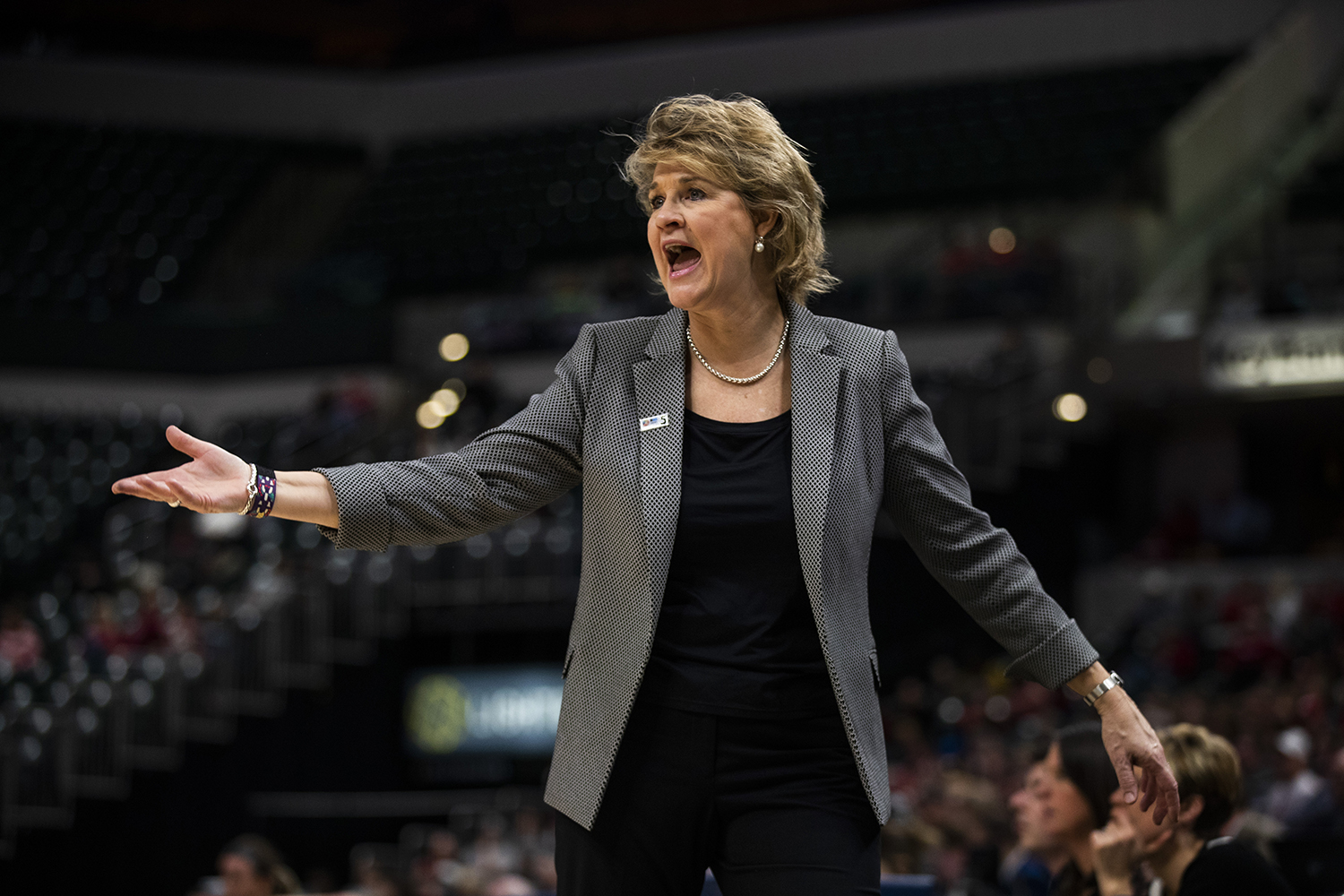 Iowa head coach Lisa Bluder reacts to a call during the women's Big Ten tournament basketball game vs. Indiana at Bankers Life Fieldhouse on Friday, March 8, 2019. The Hawkeyes defeated the Hoosiers 70-61.