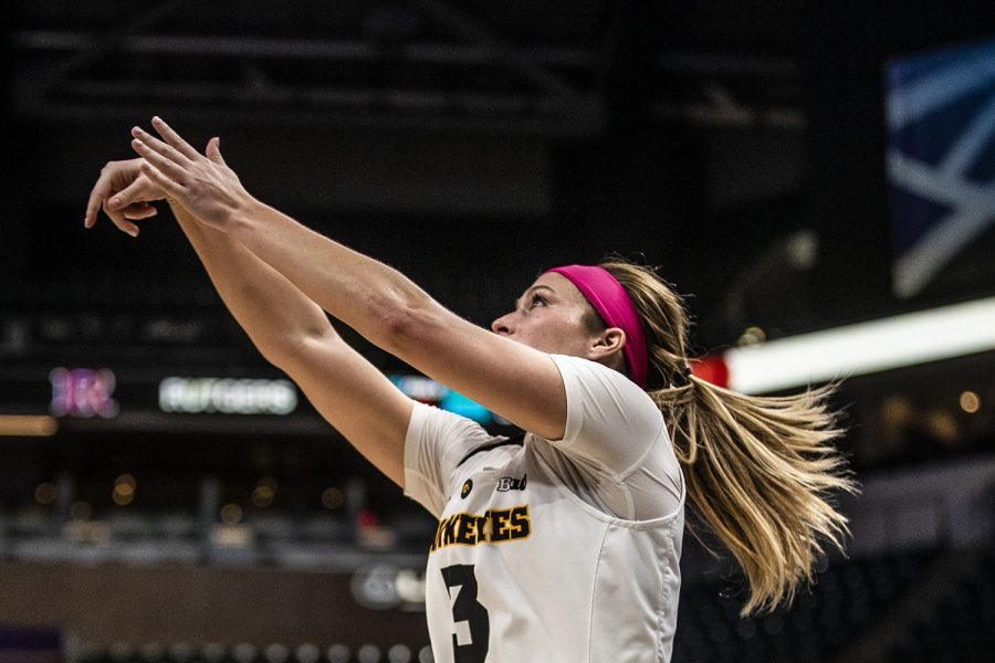 Iowa+guard+Mackenzie+Meyer+shoots+the+ball+during+the+women%27s+Big+Ten+tournament+basketball+game+vs.+Rutgers+at+Bankers+Life+Fieldhouse+on+Saturday%2C+March+9%2C+2019.+The+Hawkeyes+defeated+the+Scarlet+Knights+72-67+and+will+be+moving+on+to+the+championship+game+against+Maryland.