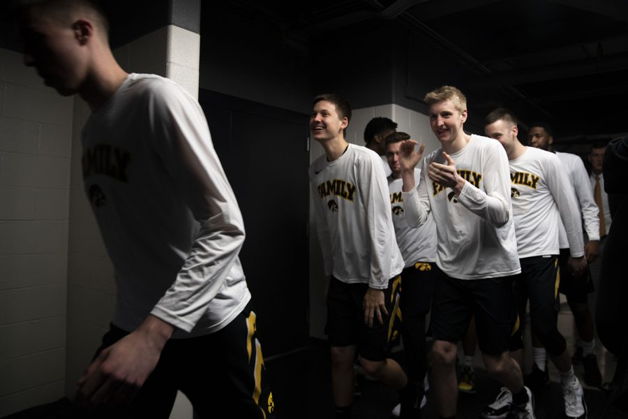 The+Iowa+men%27s+basketball+team+enters+the+court+before+the+Iowa%2FMichigan+Big+Ten+Tournament+men%27s+basketball+game+in+the+United+Center+in+Chicago+on+Friday%2C+March+15%2C+2019.+The+Wolverines+defeated+the+Hawkeyes%2C+74-53.+