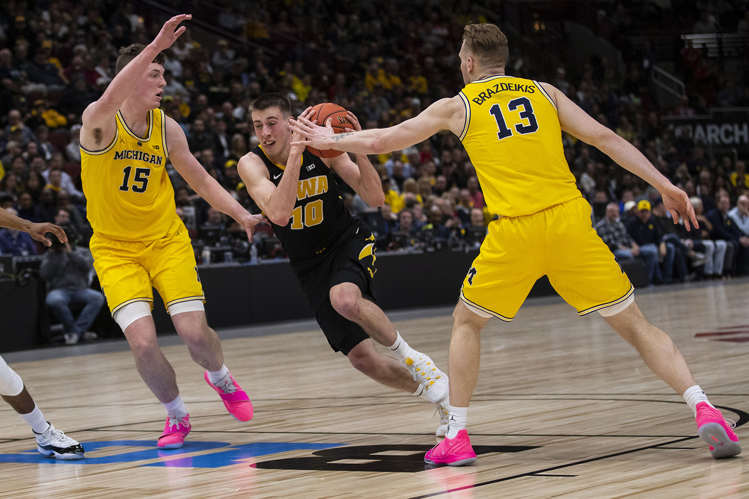 Iowa+guard+Joe+Wieskamp+drives+to+the+basket+during+the+Iowa%2FMichigan+Big+Ten+Tournament+men%27s+basketball+game+in+the+United+Center+in+Chicago+on+Friday%2C+March+15%2C+2019.+The+Wolverines+defeated+the+Hawkeyes%2C+74-53.+