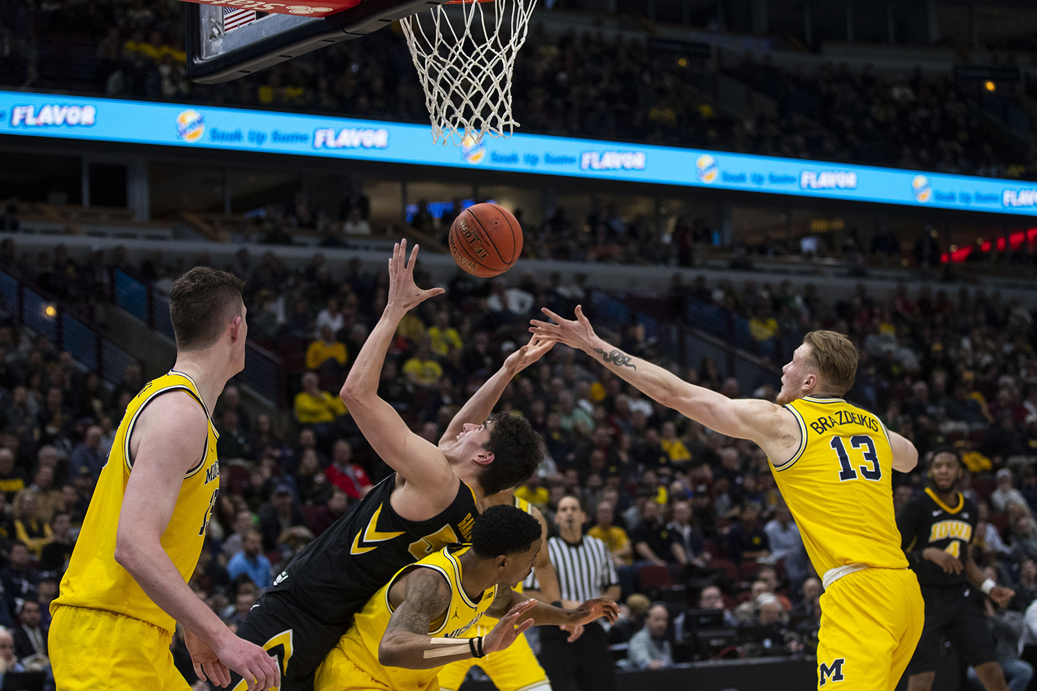 Iowa+forward+Luka+Garza+attempts+to+grab+a+rebound+during+the+Iowa%2FMichigan+Big+Ten+Tournament+men%27s+basketball+game+in+the+United+Center+in+Chicago+on+Friday%2C+March+15%2C+2019.+The+Wolverines+defeated+the+Hawkeyes%2C+74-53.+