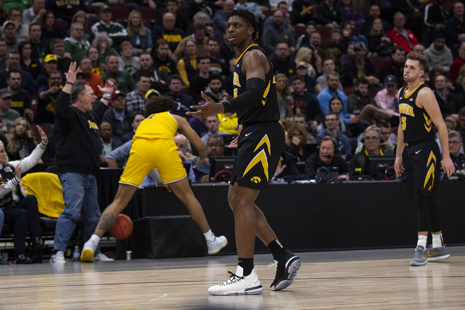 Iowa+forward+Tyler+Cook+gestures+to+an+official+after+a+call+during+the+Iowa%2FMichigan+Big+Ten+Tournament+men%27s+basketball+game+in+the+United+Center+in+Chicago+on+Friday%2C+March+15%2C+2019.+The+Wolverines+defeated+the+Hawkeyes%2C+74-53.+