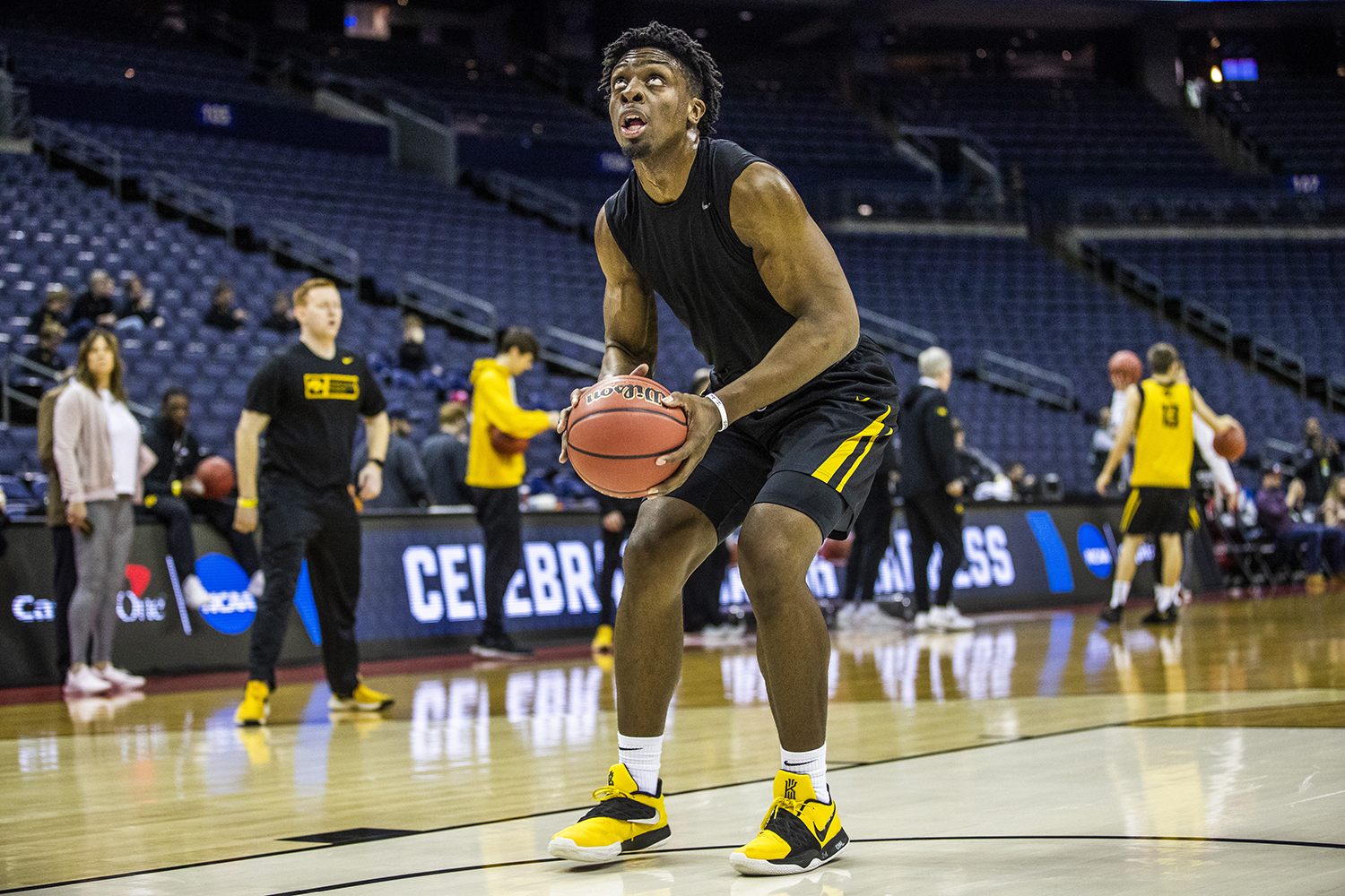 Iowa forward Tyler Cook prepares to shoot the ball during the Iowa basketball practice at Nationwide Arena in Columbus, Ohio on Thursday, March 21, 2019. The Hawkeyes will compete against the Cincinnati Bearcats tomorrow in the NCAA Tournament.