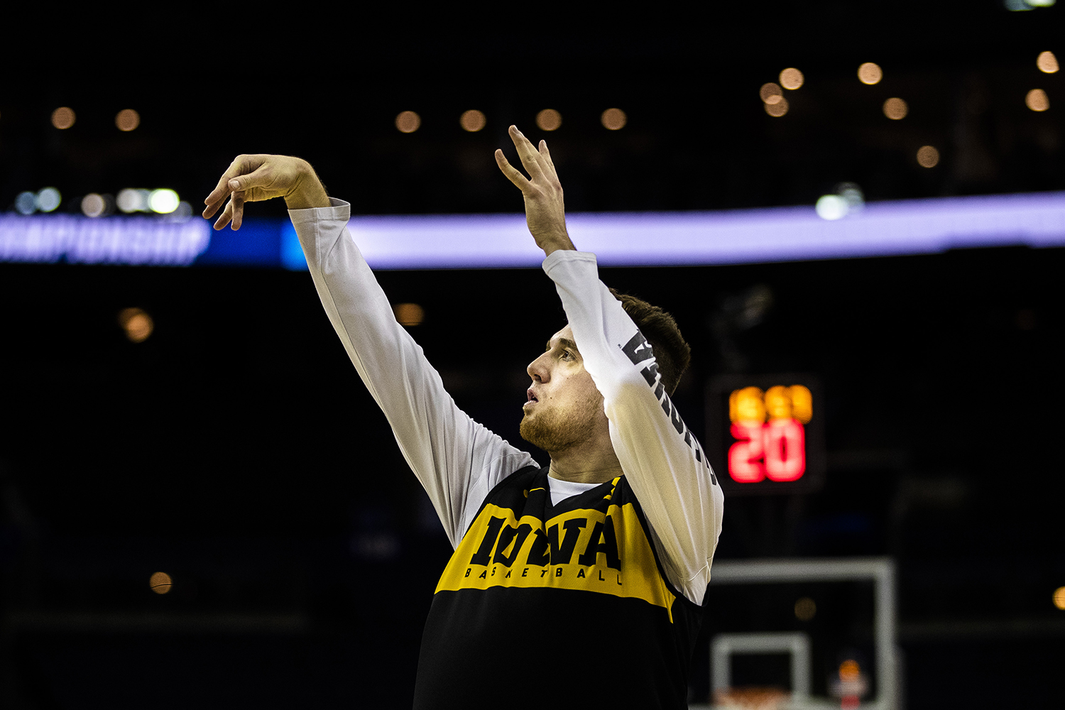 Iowa guard Jordan Bohannon shoots the ball during the Iowa basketball practice at Nationwide Arena in Columbus, Ohio on Thursday, March 21, 2019. The Hawkeyes will compete against the Cincinnati Bearcats tomorrow in the NCAA Tournament.