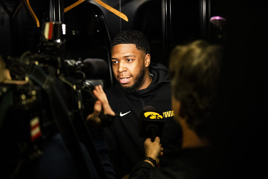 Iowa+guard+Isaiah+Moss+answers+a+question+during+the+Iowa+press+conference+at+Nationwide+Arena+in+Columbus%2C+Ohio+on+Thursday%2C+March+21%2C+2019.+The+Hawkeyes+will+compete+against+the+Cincinnati+Bearcats+tomorrow+in+the+NCAA+Tournament.
