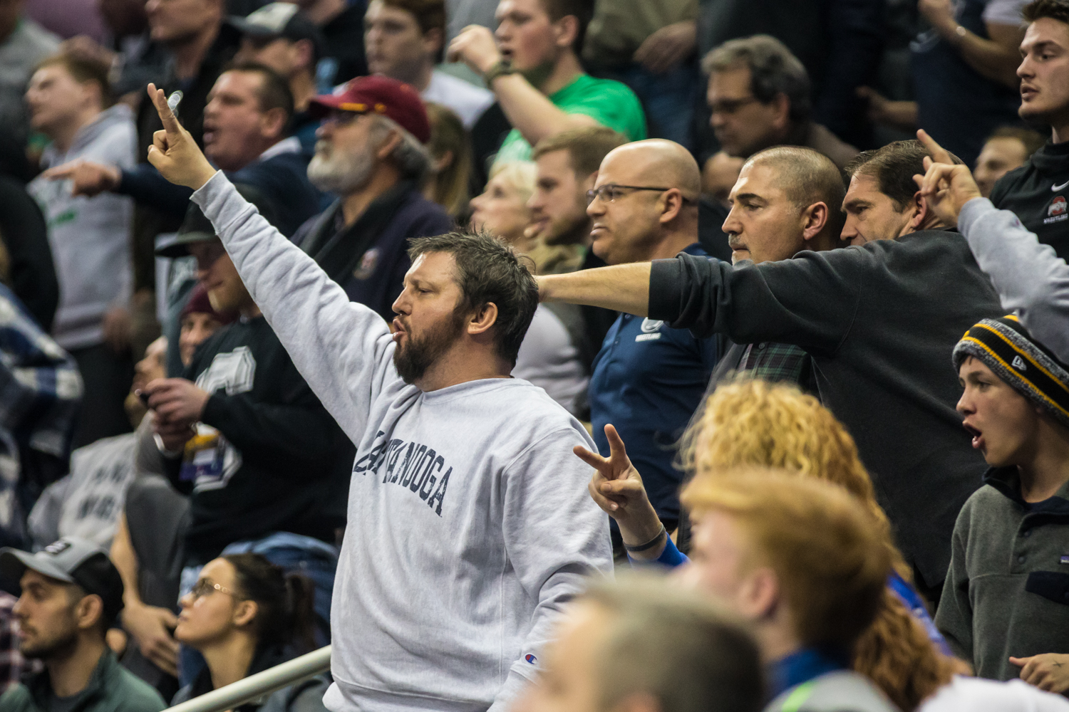 Penn+State+fans+yell+for+a+takedown+during+the+second+session+of+the+2019+NCAA+D1+Wrestling+Championships+at+PPG+Paints+Arena+in+Pittsburgh%2C+PA+on+Thursday%2C+March+21%2C+2019.