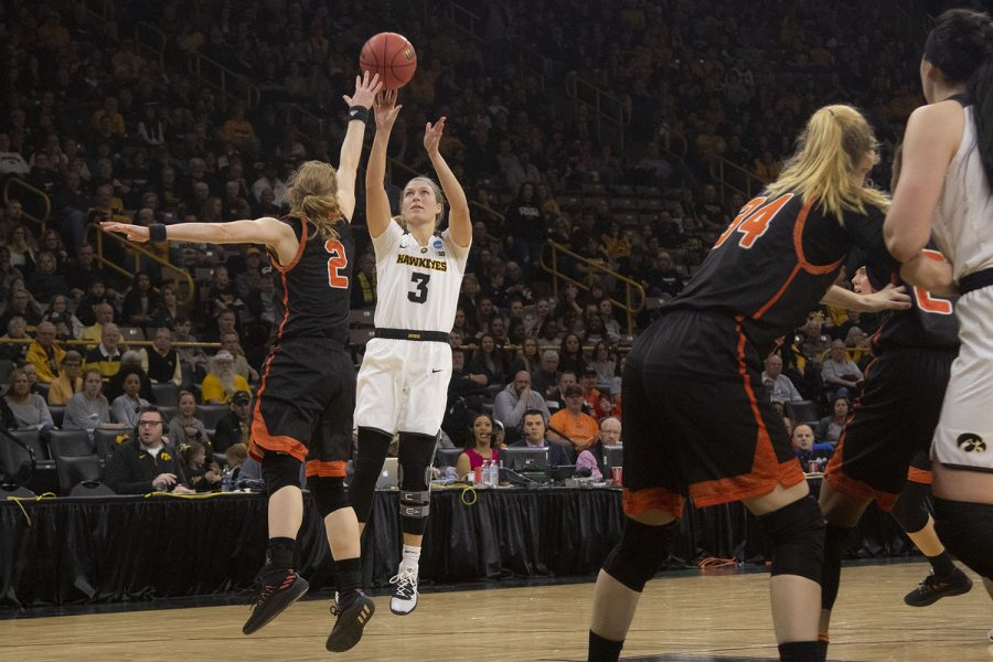 Iowa guard Makenzie Meyer attempts a basket during the Iowa/Mercer NCAA Tournament first round womens basketball game in Carver-Hawkeye Arena  on Friday, March 22, 2019. The Hawkeyes defeated the Bears, 66-61.