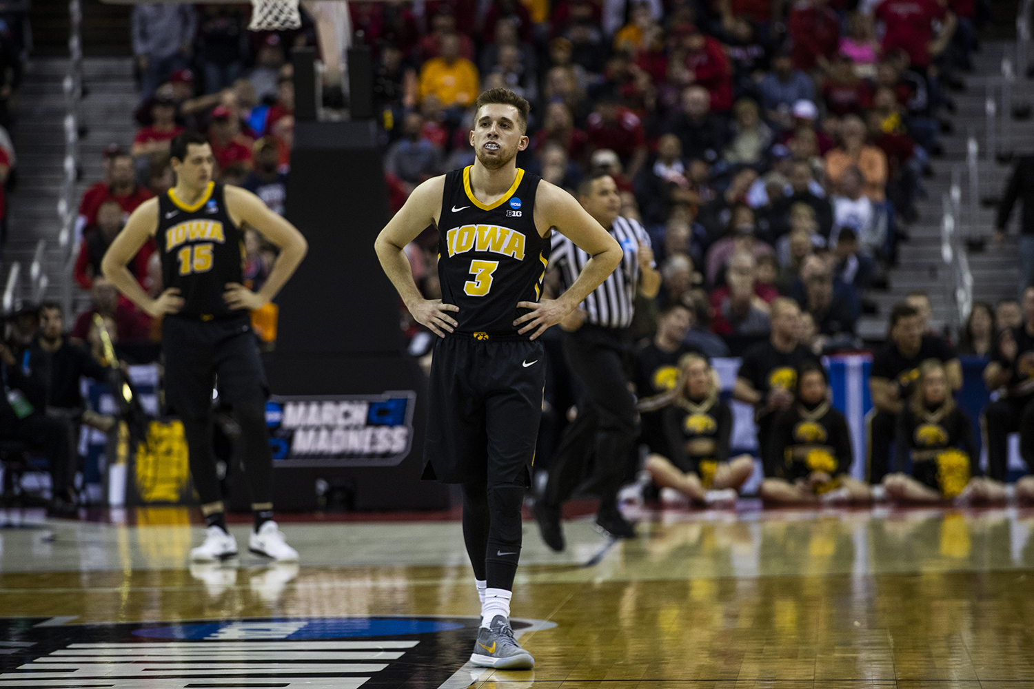 Iowa guard Jordan Bohannon waits for the game to resume during the NCAA game against Cincinnati at Nationwide Arena on Friday, March 22, 2019. The Hawkeyes defeated the Bearcats 79-72.