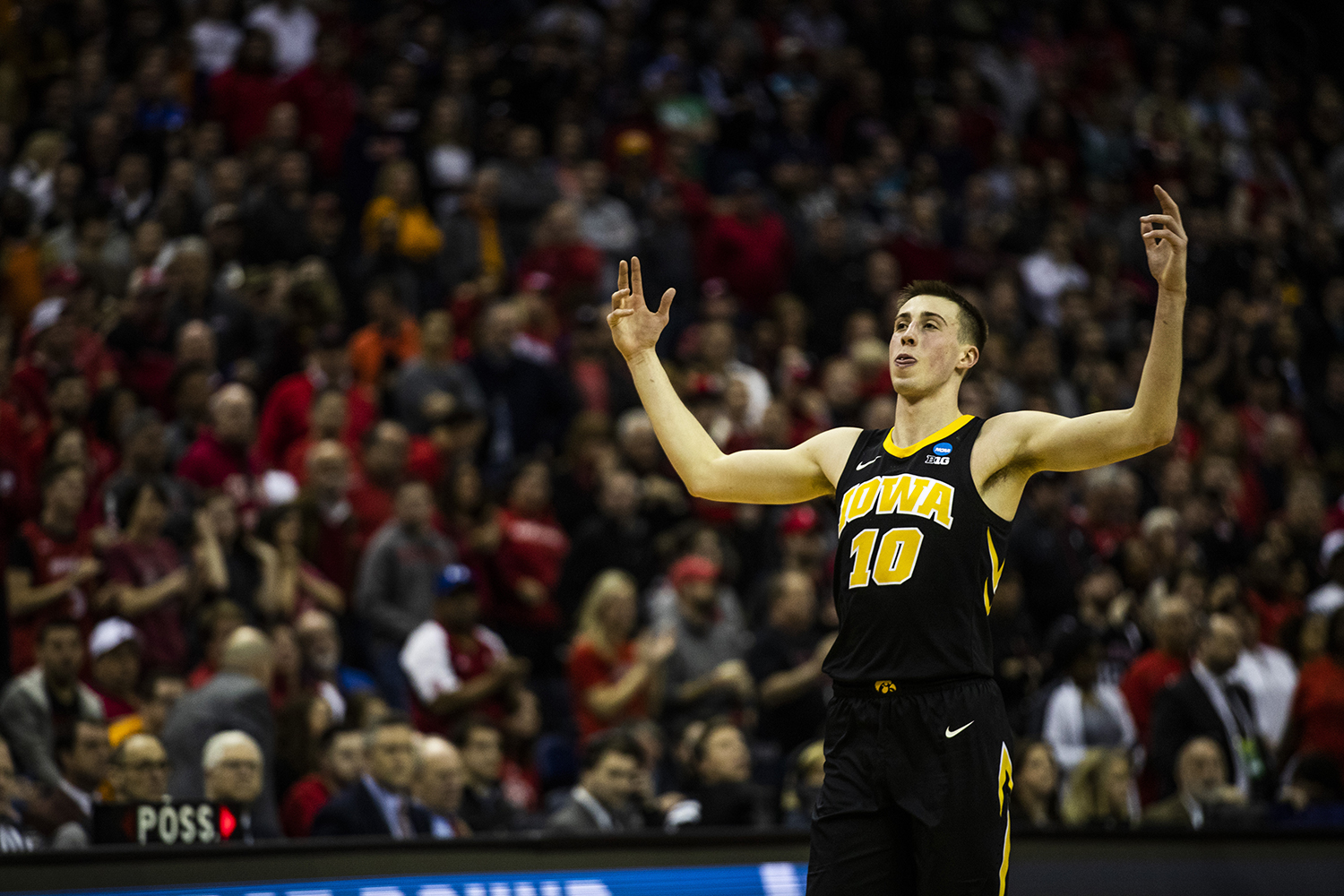 Iowa guard Joe Wieskamp reacts to an Iowa basket during the NCAA game against Cincinnati at Nationwide Arena on Friday, March 22, 2019. The Hawkeyes defeated the Bearcats 79-72.