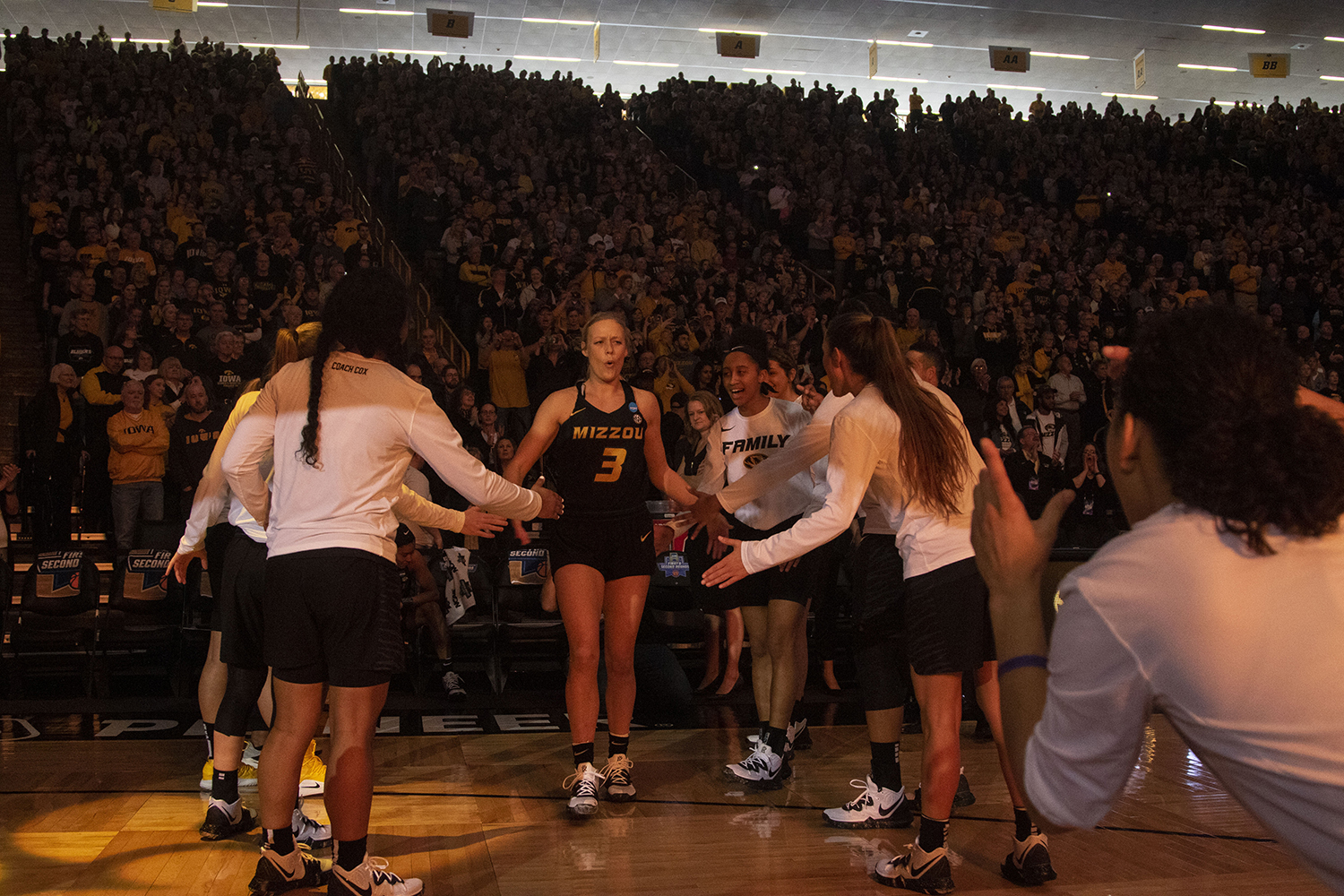 Mizzou+guard+Sophie+Cunningham+is+introduced+during+the+Iowa%2FMizzou+NCAA+Tournament+second+round+women%27s+basketball+game+in+Carver-Hawkeye+Arena++on+Sunday%2C+March+24%2C+2019.+The+Hawkeyes+defeated+the+Tigers%2C+68-52.
