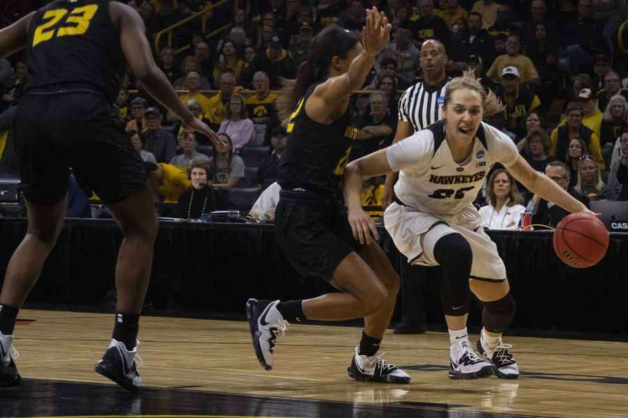 Iowa guard Kathleen Doyle drives to the basket during the Iowa/Mizzou NCAA Tournament second round womens basketball game in Carver-Hawkeye Arena  on Sunday, March 24, 2019. The Hawkeyes defeated the Tigers, 68-52.