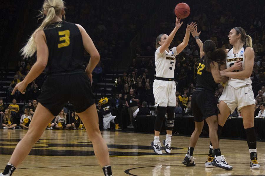 Iowa guard Makenzie Meyer attempts a 3-pointer during the Iowa/Mizzou NCAA Tournament second round women's basketball game in Carver-Hawkeye Arena  on Sunday, March 24, 2019. The Hawkeyes defeated the Tigers, 68-52. (Lily Smith/The Daily Iowan)