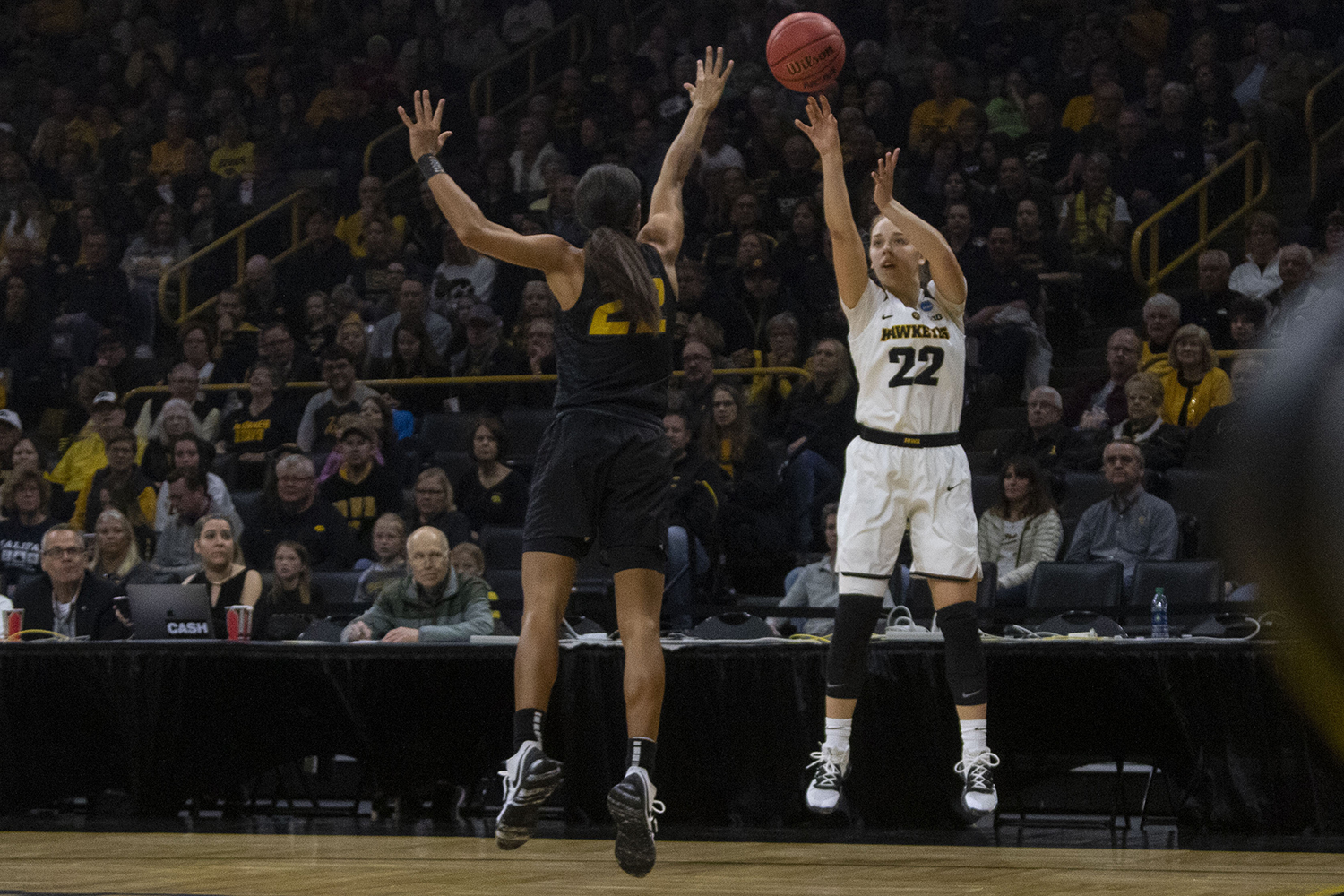 Iowa+guard+Kathleen+Doyle+attempts+a+shot+during+the+Iowa%2FMizzou+NCAA+Tournament+second+round+women%27s+basketball+game+in+Carver-Hawkeye+Arena++on+Sunday%2C+March+24%2C+2019.+The+Hawkeyes+defeated+the+Tigers%2C+68-52.+