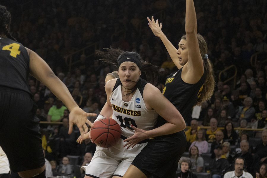 Iowa+center+Megan+Gustafson+drives+to+the+hoop+during+the+Iowa%2FMizzou+NCAA+Tournament+second+round+women%27s+basketball+game+in+Carver-Hawkeye+Arena++on+Sunday%2C+March+24%2C+2019.+The+Hawkeyes+defeated+the+Tigers%2C+68-52.+