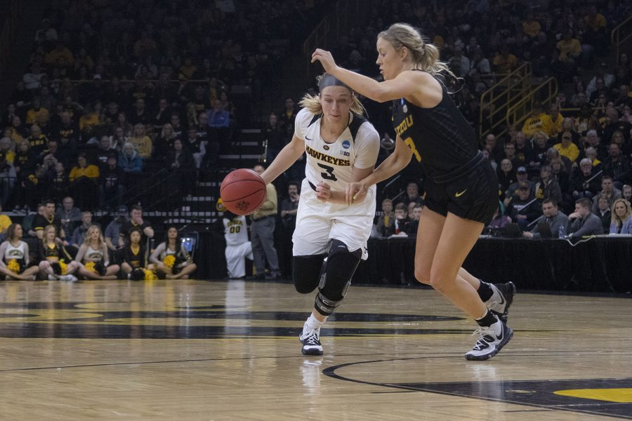 Iowa guard Makenzie Meyer drives to the basket during the Iowa/Mizzou NCAA Tournament second round womens basketball game in Carver-Hawkeye Arena  on Sunday, March 24, 2019. The Hawkeyes defeated the Tigers, 68-52.