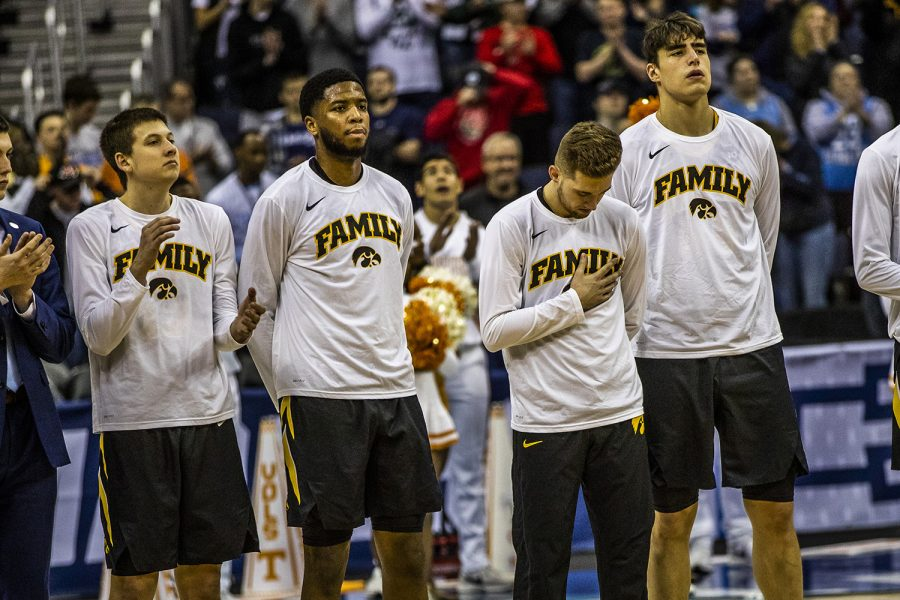 Iowa+players+prepare+to+play+Tennessee+in+the+NCAA+Tournament+at+Nationwide+Arena+on+Sunday%2C+March+24%2C+2019.+The+Volunteers+defeated+the+Hawkeyes+83-77+in+overtime.