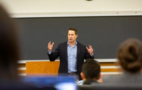 Congressman and military veteran Seth Moulton speaks at UI while considering 2020 presidential bid