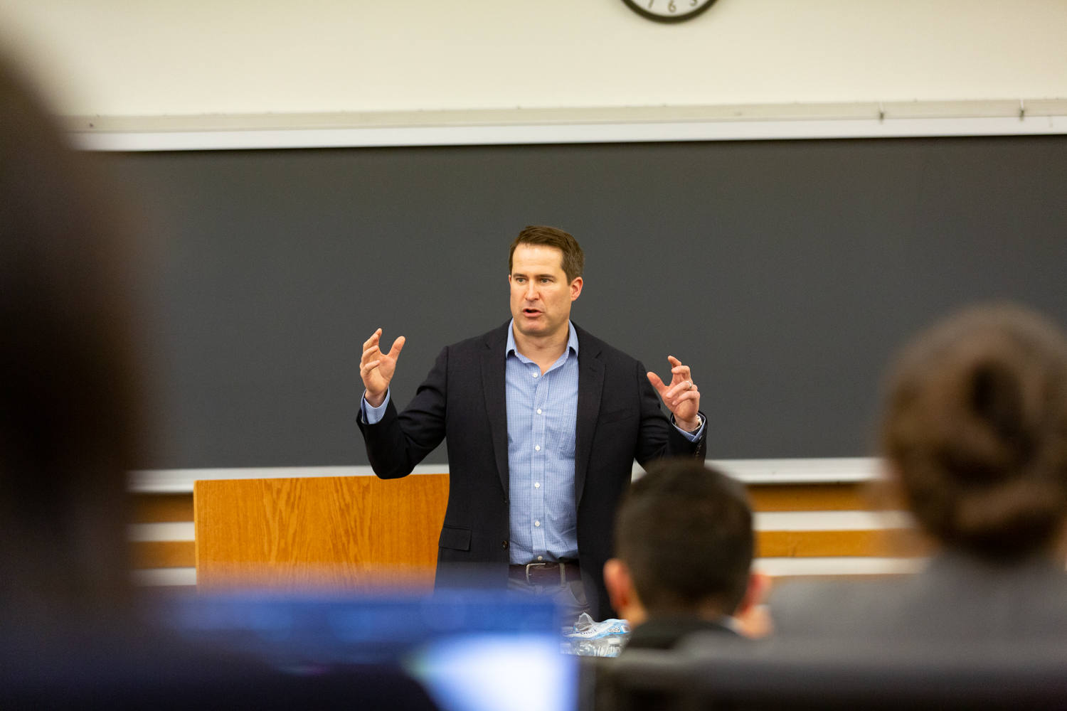 Congressman Seth Moulton (D-MA) speaks at the University of Iowa College of Law on Friday, Mar. 29, 2019. Moulton spoke on the importance of public service at a talk sponsored by the Law School's Veterans Law Association. (David Harmantas/The Daily Iowan)
