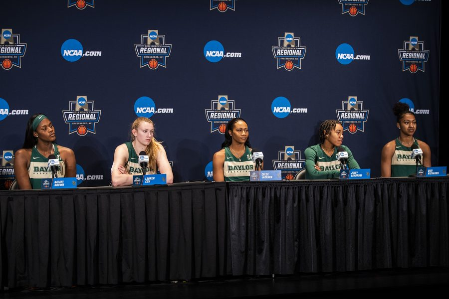 Baylor players listen to questions during their press conference at the Greensboro Coliseum Complex on Sunday, March 31, 2019. The Hawkeyes will compete against Baylor in the Elite 8 game tomorrow.