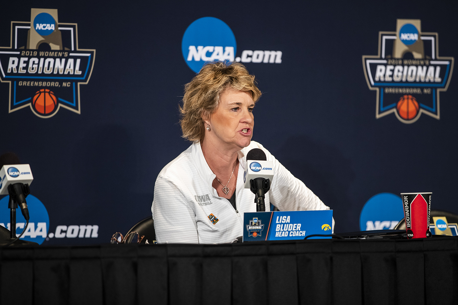 Iowa head coach Lisa Bluder answers a question during the Iowa press conference at the Greensboro Coliseum Complex on Sunday, March 31, 2019. The Hawkeyes will compete against Baylor in the Elite 8 game tomorrow.