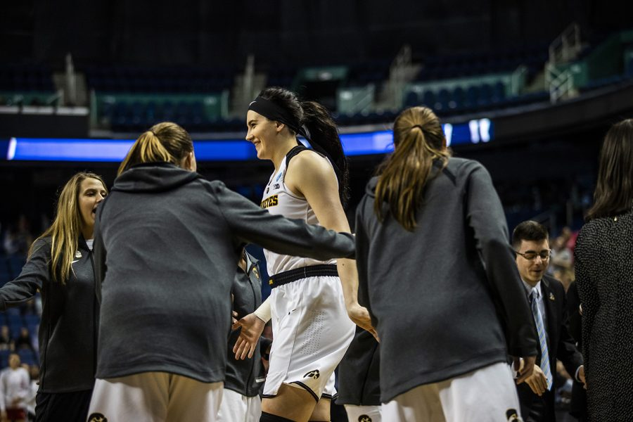 Iowa+center+Megan+Gustafson+is+announced+as+a+starter+in+introductions+before+the+NCAA+Sweet+16+game+against+NC+State+at+the+Greensboro+Coliseum+Complex+on+Saturday%2C+March+30%2C+2019.+The+Hawkeyes+defeated+the+Wolfpack+79-61.