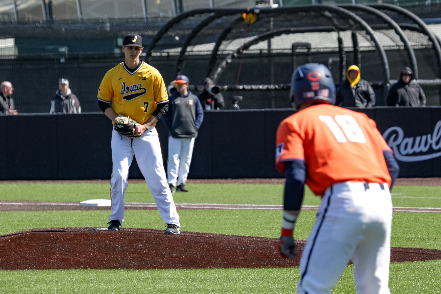 Iowa's Grant Judkins looks back towards third base during a baseball game against the University of Illinois on Sunday, Mar. 31, 2019. The Hawkeyes defeated the Illini 3-1.