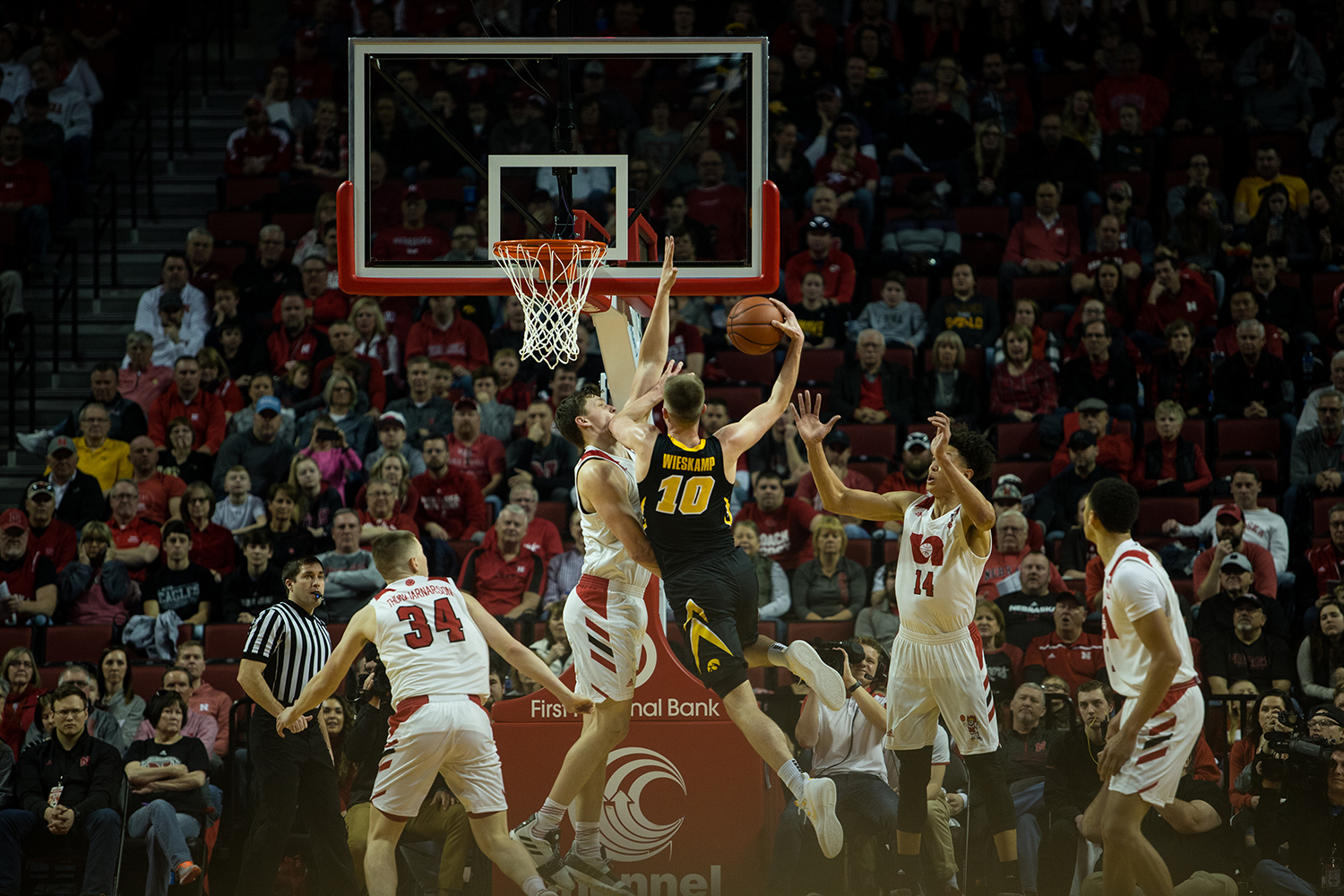 Iowa Forward Luka Garza #55 takes a layup during a mens basketball game between the Iowa Hawkeyes and the Huskers at Pinnacle Bank Arena on Sunday, March 10, 2019. The Hawkeyes fell in overtime to the Huskers, 93-91.