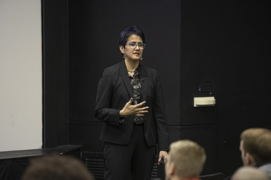 Associate English professor at the University of Austin-Texas Domino Renee Perez speaks at the Vice President for Diversity and Inclusion forum on Thursday, March 14, 2019