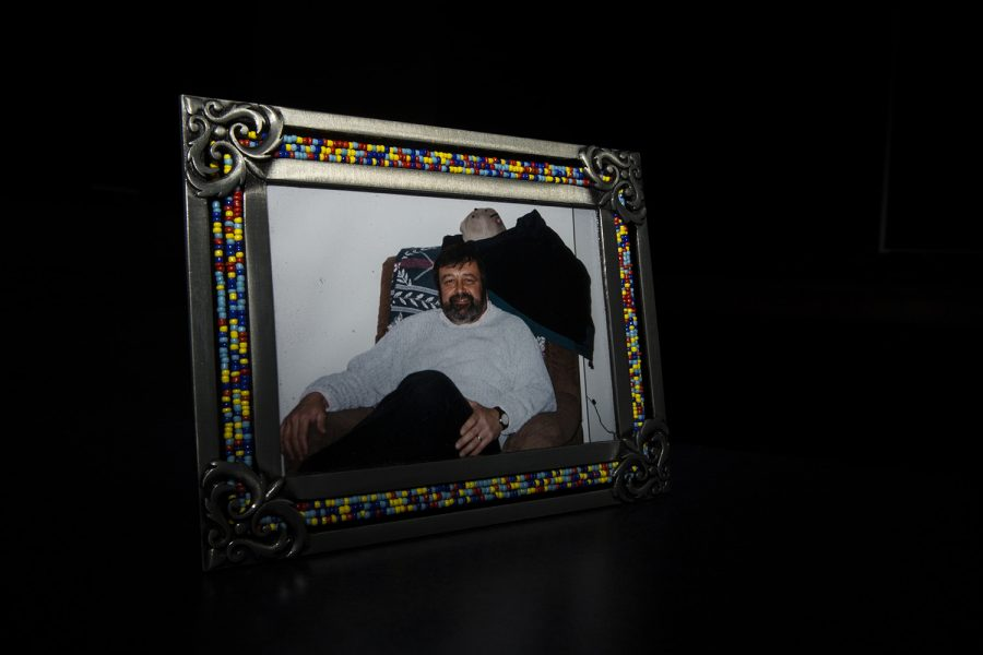 A framed photograph of John Stortz. John died inside his home on Nov. 21, 2012 from natural causes.