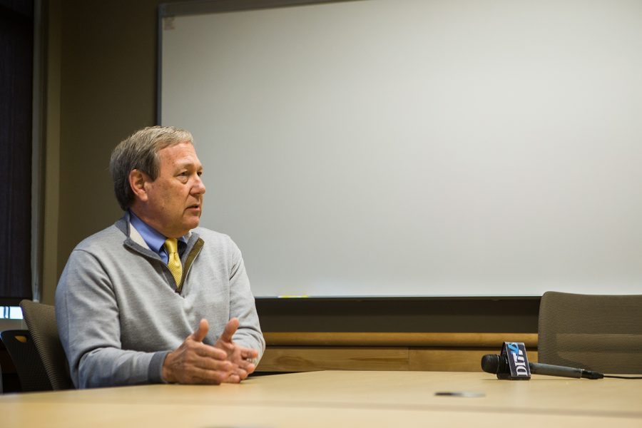 UI President Bruce Harreld speaks with The Daily Iowan in the Adler Journalism Building on Thursday, March 7, 2019.