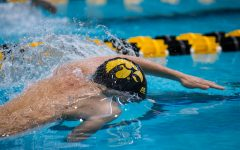 Iowa's Joe Myhre (JR) prepares to swim 50 freestyle during the second day of the 2019 Big Ten Men's Swimming and Diving Championships at the CRWC on Thursday, February 28, 2019.