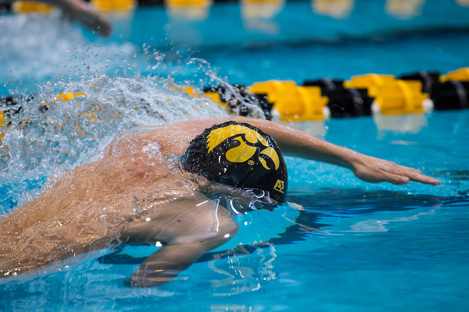 Iowa%27s+Joe+Myhre+%28JR%29+prepares+to+swim+50+freestyle+during+the+second+day+of+the+2019+Big+Ten+Men%27s+Swimming+and+Diving+Championships+at+the+CRWC+on+Thursday%2C+February+28%2C+2019.+